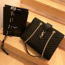 Yves Saint laurent/YSL female lightweight large-capacity shopping tote convenient outdoor travelling luggage shoulder bag golden tone hardware