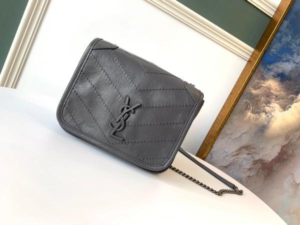 Yves Saint laurent/YSL female MIni NIKI sling-chain crossbody bag small flip square bag in vintage crinkled leather