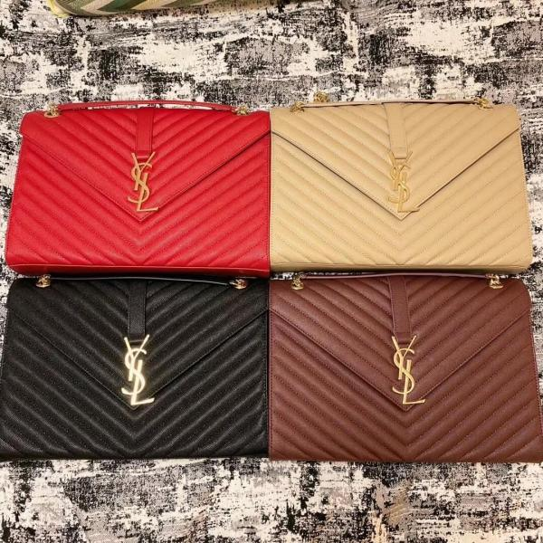 Yves Saint laurent/YSL envelope female chevron -quilted solid vintage messenger bag generous luxury chain-strap shoulder bag