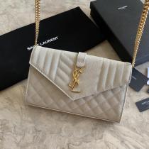 Yves Saint laurent/YSL female WOC  envelope-style flip chain-strap crossbody bag antique bronze hardware