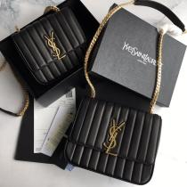Yves Saint laurent/YSL Vicky female quilted flap chain-strap crossbody bag twin size in glossy patent lambskin leather