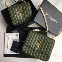 Yves Saint laurent/YSL Vicky female quilted flap chain-strap crossbody bag twin size antique bronze hardware