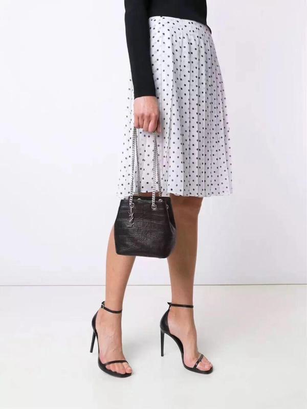 Yves Saint laurent/YSL female casual drawstring tassel bucket bag vintage chain-strap crossbody bag