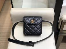Chanel As88861 female pure-color  square-lattice-quilted flap waist belt bag in twin different material