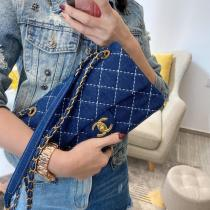 Chanel ladies stylish classic flap crossbody shoulder bag in durable denim and antique bronze hardware
