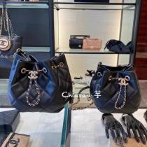 Chanel As1801 As1699 twin sizes Female stylish quilted drawstring bucket bag laureate hardware