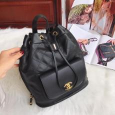 Chanel 98235 female stylish Mixed-material drawstring tassel backpack outdoor quilted travelling bag