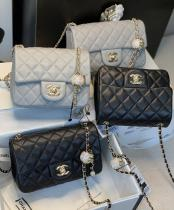 Chanel Cf new mini classic quilted flap bag twin size in soft lambskin leather