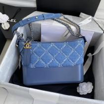 Chanel Gabrielle female elegant denim-quilted vintage hobo bag twin size antique bronze hardware