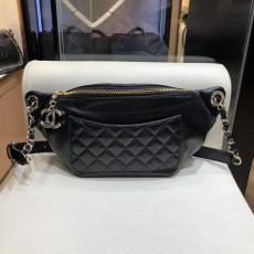 Chanel 57832 female rhombic-lattice quilted waist chest bag