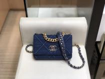 Chanel female WOC envelope-style flap chain-strap crossbody bag multislots card holder quited elegant clutch
