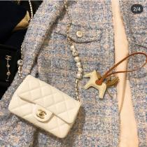 Chanel Cfmini classic pearl-chain-strap flap crossbody bag exquisite smartphone makeup bag