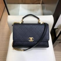 Chanel As0305 female casual quilted vintage flap messenger bag practical commuter bag which iconic Double-C twist fastener