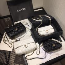Chanel CF new mini flapl quilted pearl-chain-strap  crossbody bag laureate hardware double size