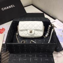 Chanel CF mini flap l quilted pearl-chain-strap flap crossbody bag laureate hardware double size