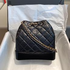 Chanel gabrielle As94485 female casual quilted drawstring open bucket bag mini color-contrast backpack excellent birthday present for girlfriend