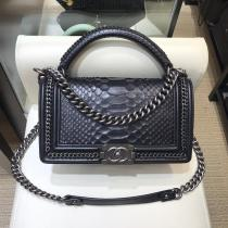 Chanel Le boy 7088 female luxury portage flap crossbody shoulder bag vintage suitcase in Python leather
