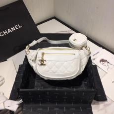 Chanel As1077 female ohanel quilted waist belt bag lightweight fashion chest bag in waxed vintage lambskin leather