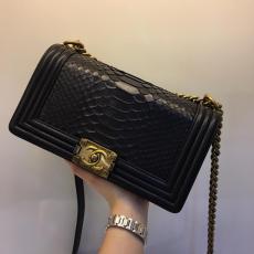 Chanel Le boy women's luxury vintage chain-strap crossbody bag elegant messenger bag antique bronze  hardware in Python leather