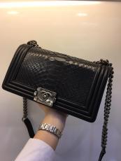 Chanel Le boy women's luxury vintage chain-strap crossbody bag elegant messenger bag antique silver hardware in Python leather