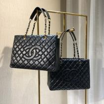 Chanel 50995 female quilted triple-compartment open shopping tote bag casual shoulder bag in lambskin leather