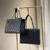 Chanel caviar black 50995 female quilted lightweight open shopping tote bag gorgeous holiday traveling luggage