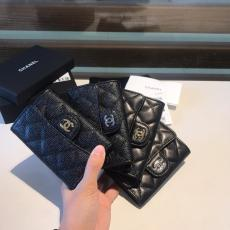 Chanel CF collection female quilted flip bifold small wallet small purse coin pouch multicolor card holder caviar black