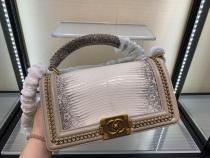Chanel Le boy handbag luxury lizard-leather portable messenger bag single chain crossbody flap bag medium size  antique bronze hardware