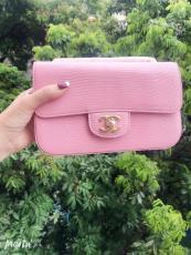 Chanel CF classic flap female luxury chain-strap crossbody shoulder bag small square Box bag medium size in lizard leather