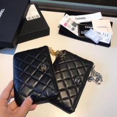 Chanel trendy quilted zipper coin pouch medium wallet purse elegant wristlet caviar black