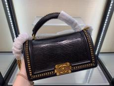 Chanel Le boy handbag luxury lizard-leather portable messenger bag single chain crossbody flap bag medium size  antique bronze hardware