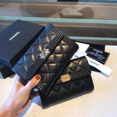 Chanel 2.55 collection female quilted clamshell trifold medium wallet purse passport card holder versatile coin pouch