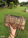 Chanel CF classic flap female luxury chain-strap crossbody shoulder bag small square Box bag medium size in Python leather