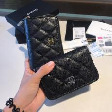 Chanel Caviar black quilted zipper small wallet purse coin pouch