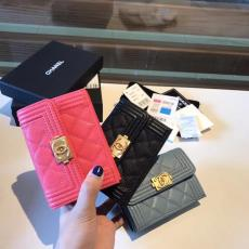 Chanel Boy caviar wallet feminine quilted flip versatile trifold smallwallet small purse multislots card holder coin pouch