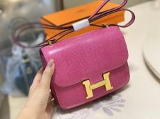 Hermes constance 18cm smartphone crossbody shoulder bag purely-handmade female piece  lizard leather and gold hardware