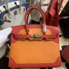 Hermes Birkin 30 top-handle handbag contrast-color large-capacity holiday traveling bag gorgeous shopping tote bag in sophisticatedly -perforated swift calfskin  leather