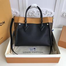 M53823 Louis Vuitton/LV On My Side Tote turn-lock handbag large-capacity mixed-material traveling shopping  bag with sophisticatedly-perforated monogram stiff