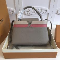 M42924 Louis Vuitton/LV Capucines PM Handbag color-block stylish double-compartment traveling tote with productive base studs bag