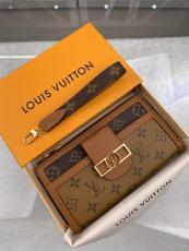 M69162 Louis Vuitton/LV female zipper longwallet purse multislots card wristlet holder with elegant frontal buckle
