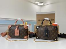 M45531 Louis Vuitton/LV Petite Malle Soupe handbag compact tote shopping bag in monogram canvas accompanied by double shoulder staple