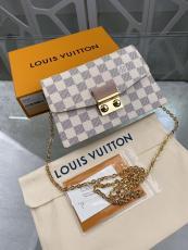 N60357 Louis Vuitton Croisette WOC wallet-stype chian-strap  crossbody shoulder bag socialite party clutch  In damier canvas