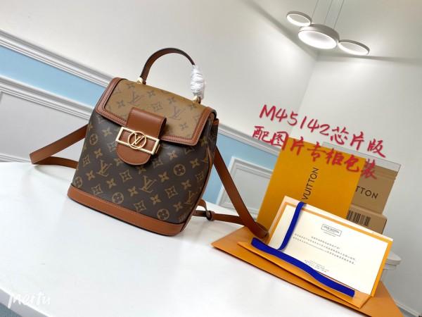 Ultimate version M45142 Louis Vuitton/LV Dauphine monogram mini backpack color-contrast vintage versatile handbag with built-in clip for inductive code scanning