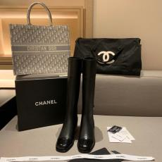 Chanel female leather Chelsea elastic high boot &ankle boot with low heel in vegetable-tanned calfskin leather heel height about 2.5cm