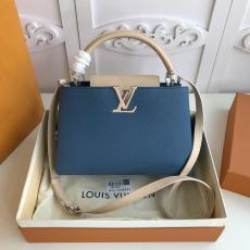 ultimate Version M52986 Louis Vuitton/LV Capucines BB tote handbag feminine double-compartment large-capacity traveling shopping bag with protective base studs