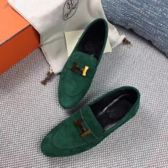Hermes female stylish suede leather loafer comfortable driver shoe casual gorgeous street outfits with adorned H-logo buckle