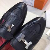 Hermes female breathable  fringed loafer casual driver shoe with decorative H-Shape buckle