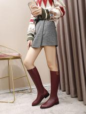 Gucci female Classic flat vegetable-tanned leather high boot with antique bronze  interlocked-double-G house signature
