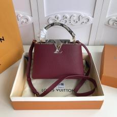 N95509 Louis Vuitton/LV Capucines BB handbag feminine mixed-material shopping tote bag double-compartment travelling holiday bag perfectly present  lady's gorgeous casual look