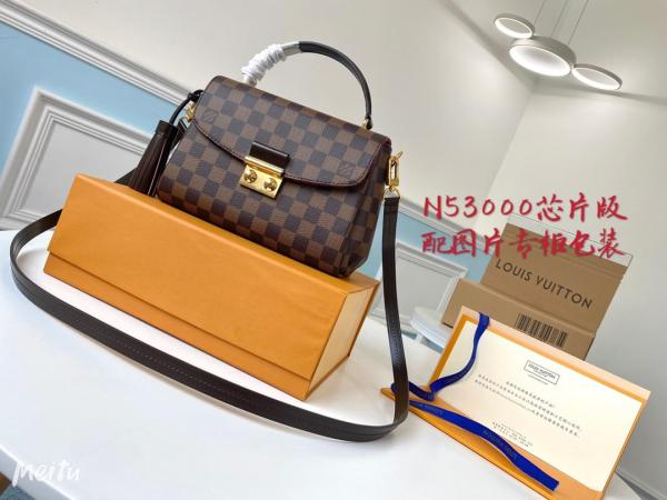 N53000 Louis Vuitton/LV Croisette damier canvas handbag vintage messenger crossbody bag with built-in clip for inductive code scanning
